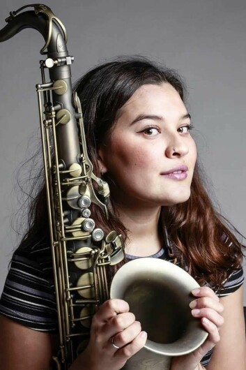 MAINTAINING A GOOD BALANCE: Mona Krogstad admits she may spend hours upon hours practicing her main instrument, the sax.