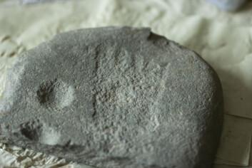 Fotspor i steinen: For rundt tre tusen år siden hogget en person inn fire skålgroper og et fotavtrykk på denne steinen, men akkurat hvorfor er det ingen som vet.