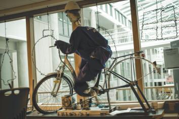 Ved hjelp av en dansematte skal denne sykkelen lage smoothie når det dukes til konkurranse.