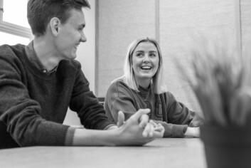 EntreprenørLEGGER GRUNNMUR: Vetle Slagsvold Øien og Eline Vitsø Bjørnstad trives godt som studenter ved Entreprenørskolen, og satser på å fortsette i bedriftene de har vært med på å starte etter at de er ferdige med masteren.