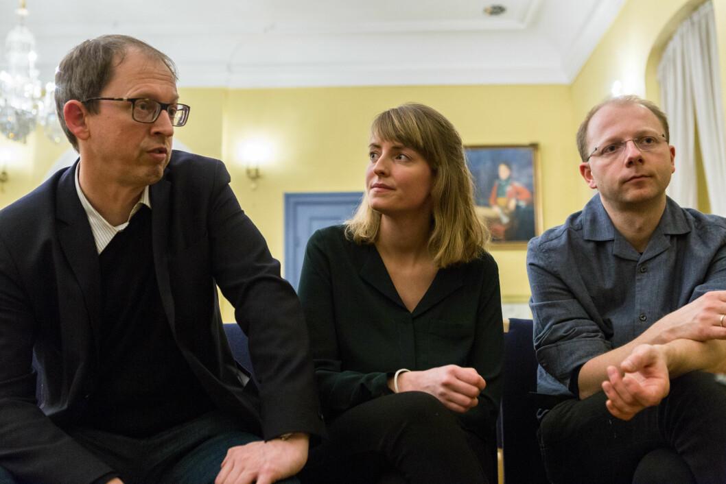 Espen Moe (t.v.), Lina Ingeborgrud og Bjørn Samset har alle ulike forslag til løsninger på klimaproblemene.