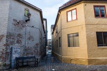 NY FASADE: Bygninger etter at veiteprosjektet har fjerna tagging og malt.