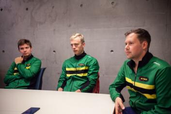 Spente trenere: Nestleder i NTNUI Volleyball Vegard Buset (t.v.), og trenerne Elias Vølstad Bogen og Herman Palm Hunnestad (t.h.) ser fram mot å komme i gang med sesongen.