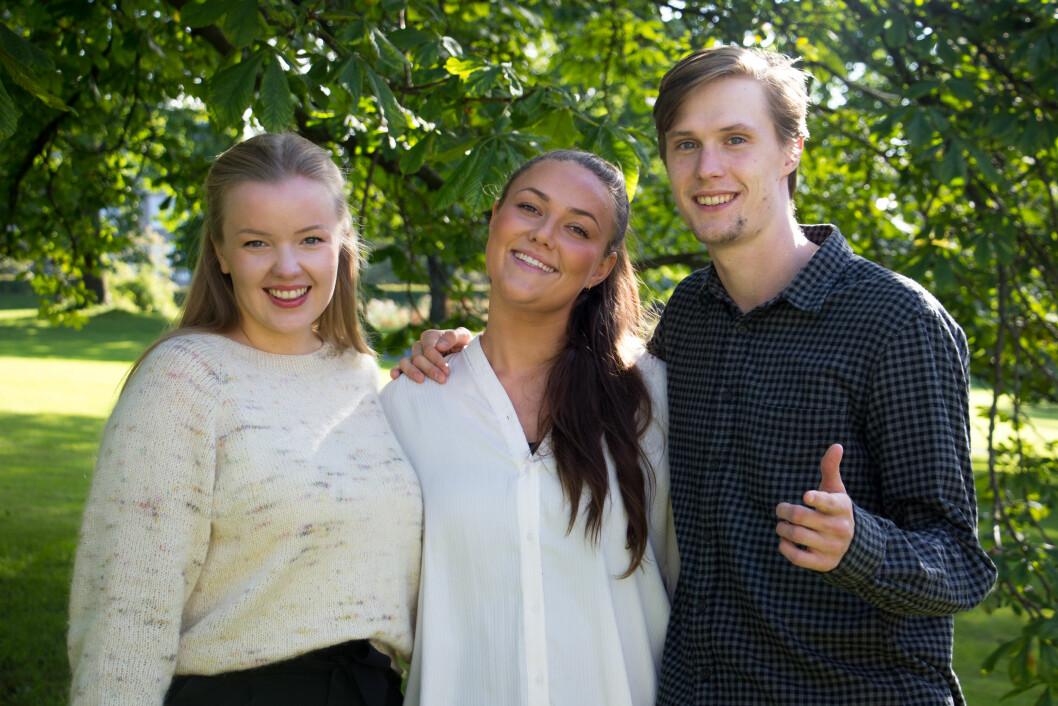 TREKLØVER: Agnete Djupvik (t.v.), Julie Nymo og Julian Mæhlen er snart klare for en vanlig hverdag igjen, etter nærmere to år med planlegging av UKA.