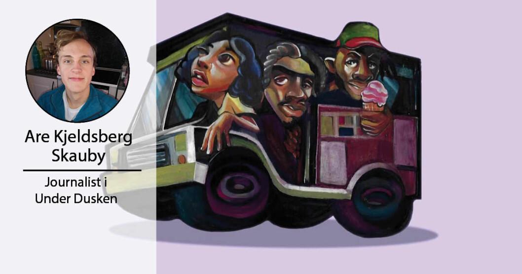 Coveret til «Häagen-Dazs» av Ghetto Sage med Noname bak rattet, Smino rett etter og Saba med en is i hånda.