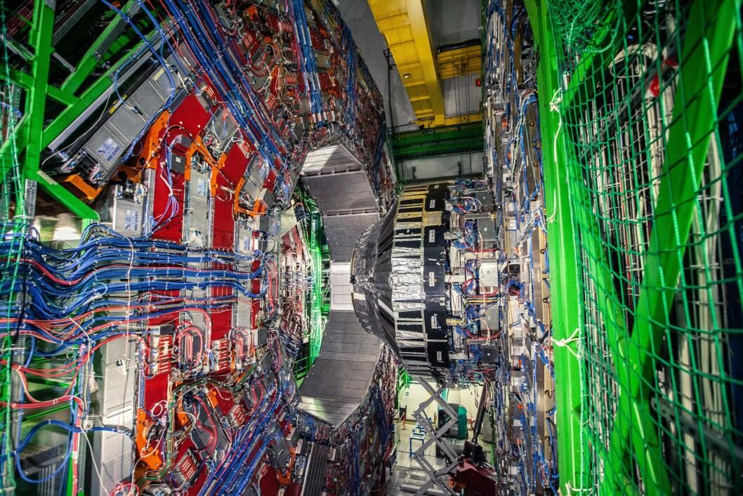 <b>DIGER:</b> CMS-detektoren leter etter alt i fra Higgs boson-interraksjoner til mørk materie.