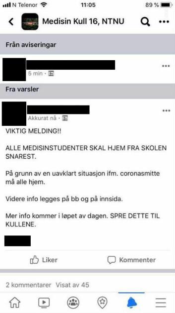 Skjermbilde postet i facebookgruppa for 2016-kullet i medisin.