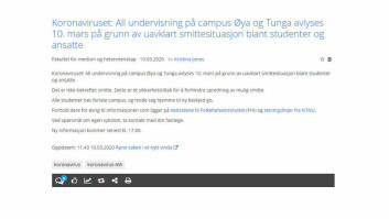 Denne meldingen ble postet på Innsida tirsdag formiddag. Alle studenter ved campus Tunga og Øya ble bedt om å dra hjem, og all undervisning ble avlyst.