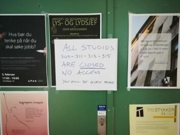 Dette skiltet møtte arkitekturstudenter som skulle i forelesning idag.