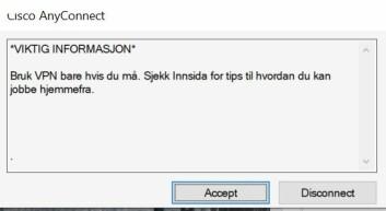 **Advarsel:** Dette er beskjeden man får når man kobler seg til VPN-tjenesten som brukes av NTNU-studentene.