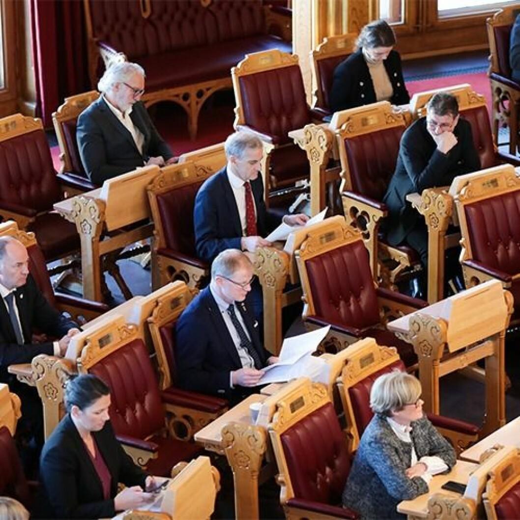 Fra stortingsmøte 21. mars. De samlede vedtakene vedrørende korona og økonomi ble offentliggjort torsdag 26. mars.