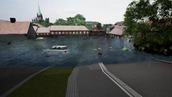 <b>SYKKELHEISFISK:</b> Man kan se fiske svømme forbi sykkelheisen på Bakklandet med en VR-applikasjon.