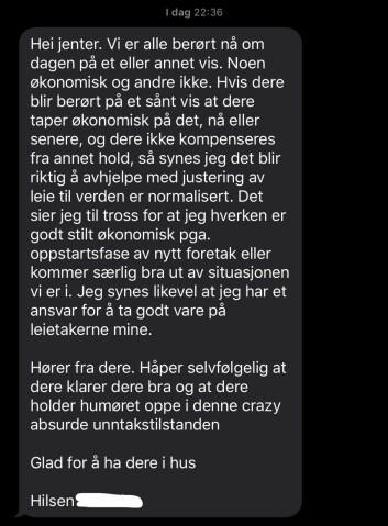 <b>Unntakstilstand:</b> Skjermdump av medlingen som Bjørhusdal sendte til kollektivet.