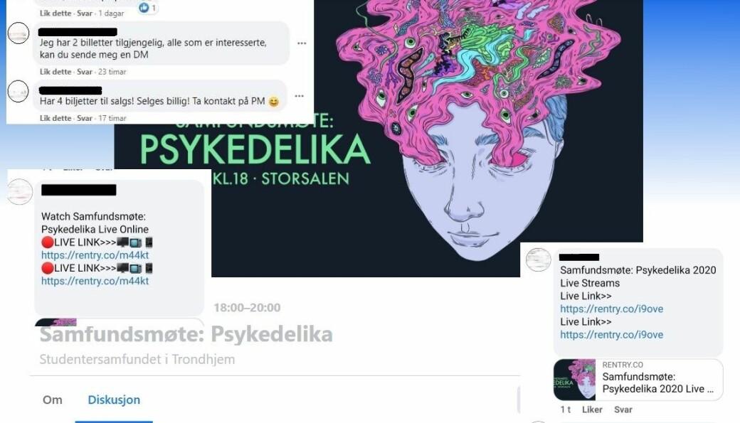 <b>HACKET</b>: Brukere som har fått profilen sin hacket publiserte svindelforsøk-innlegg på Facebook-eventet til «Samfundsmøte: Pyskedelika.»