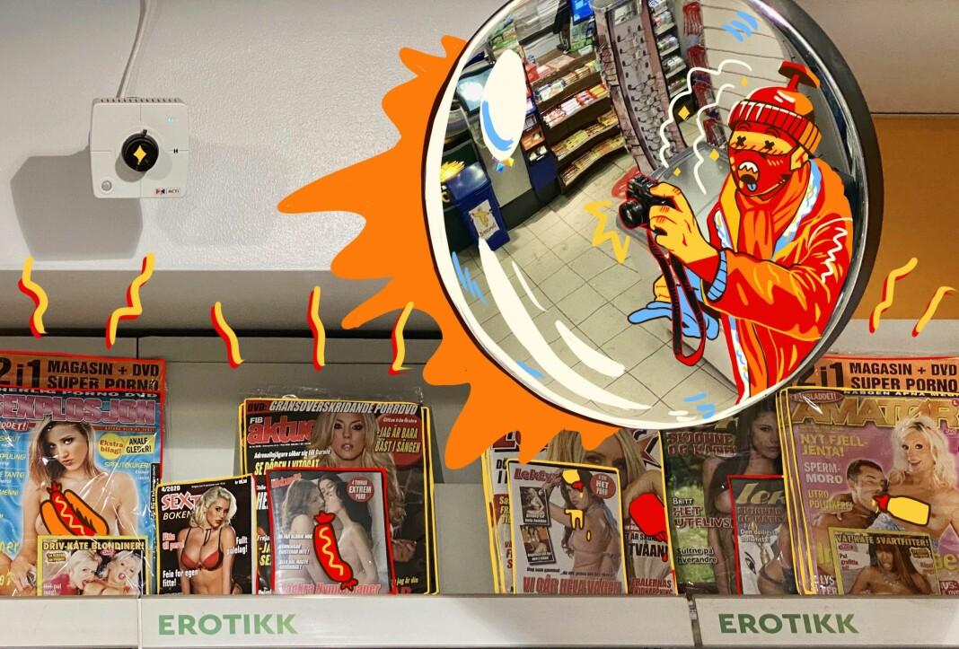 <strong>EROTISK</strong>: Dijon er flink til å ta bilder av erotikkhylla.